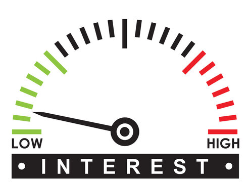 low interest rate - monitoring  scale -   illustration template