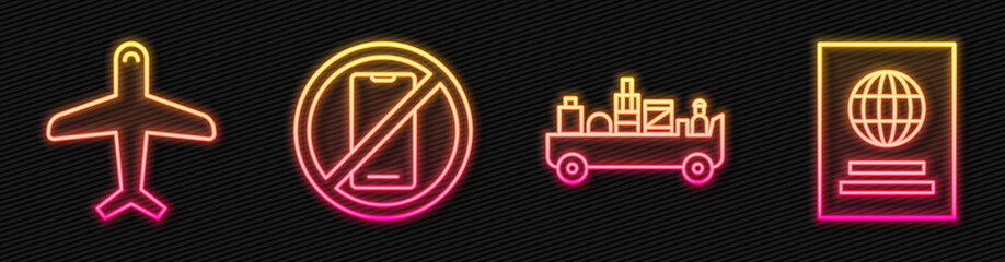 Set line Airport luggage towing truck, Plane, No cell phone and Passport. Glowing neon icon. Vector. Fotobehang