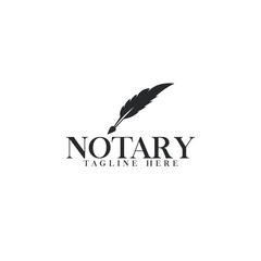 Notary, Lawyer / Law firm Logo design. Feather symbol or icon vector logo design template.