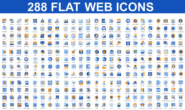 Bundle vector flat icons concept. Contain such Icons as Teamwork, People, Finance, Analysis, SEO, Business, Money, Support, Real Estate and more. UI, UX vector icon. Flat conceptual pictogram pack.