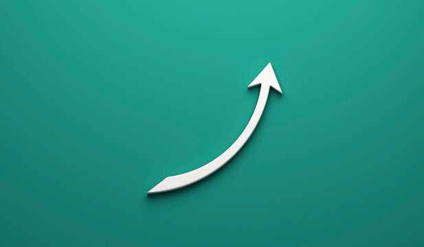 3D arrow business graph statistics growth sales logo icon image  banner green background template