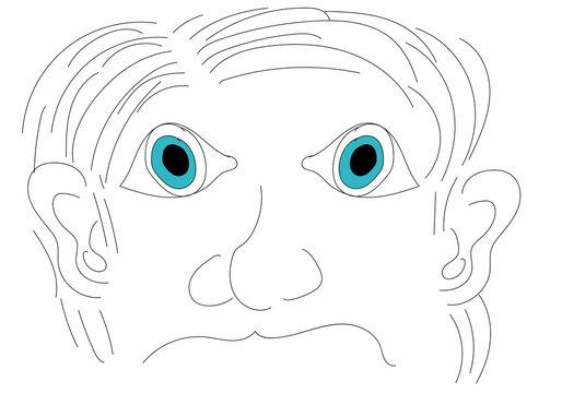 Anciano de ojos azules enfadado