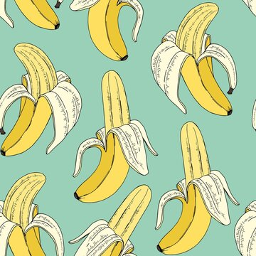Bananas on a mint background. Vector seamless pattern with fruits. Digital paper.