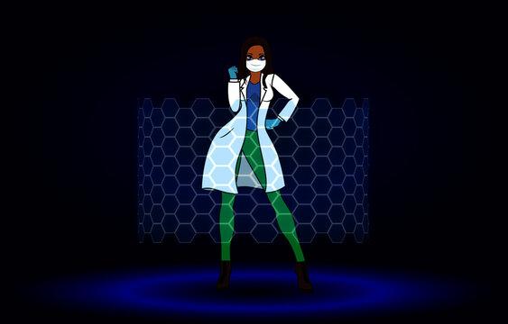 woman hero doctor nurse power stand pose
