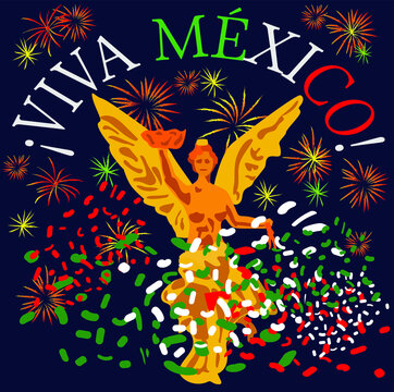 Mexico Independence celebration: Independence Angel with fireworks and spanish text: Long live Mexico