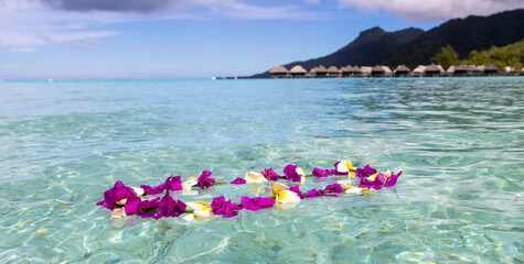 Colorful flower lei floats in turquoise water on an exotic tropical island