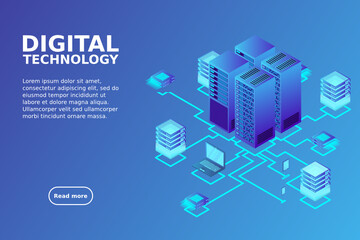 Concept of data network management .Vector isometric map with business networking servers computers and devices.Cloud storage data and synchronization of devices.3d isometric style