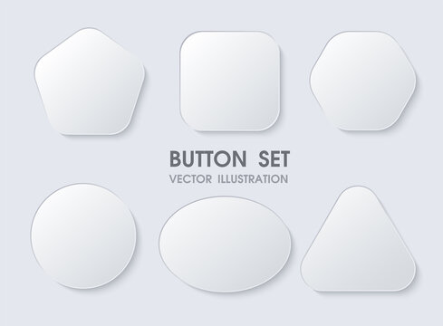 3D geometric buttons with realistic curves and shadows like white paper.