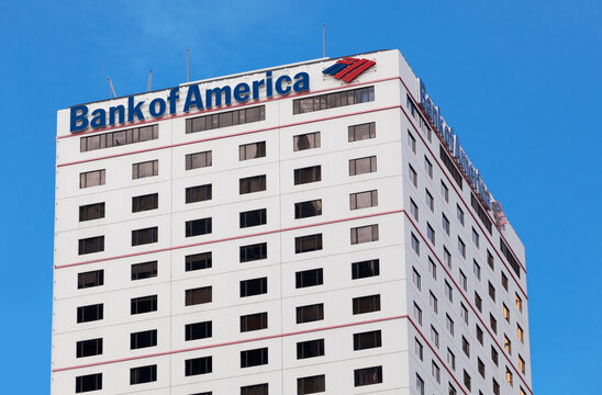 Hong Kong, China - August 21, 2011: Bank of America building in Hong Kong. Bank of America is a multinational banking and financial services corporation.