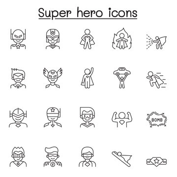 Set of Super hero Related Vector Line Icons. Contains such Icons as mask, costume, power, action, weapon and more.