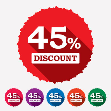 45% off discount tag, sticker, label, badge. Special offer sale tag isolated vector on white background. 45 percent discount offer price tag for advertising campaign.