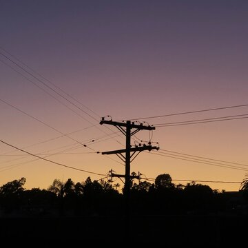 Power lines at sunset in Los Angeles