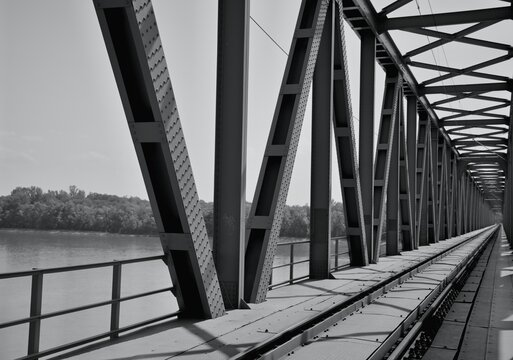 Old bridge over the river Danube in the town of Komárno / Slovakia /. The bridge is next to a new bridge to neighboring Hungary.