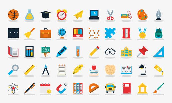 school icon set, flat style