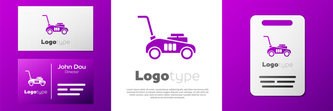 Logotype Lawn mower icon isolated on white background. Lawn mower cutting grass. Logo design template element. Vector Illustration.