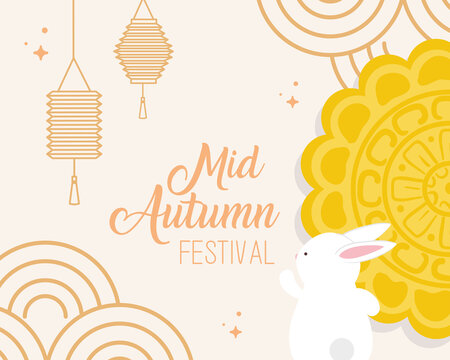 mooncake with rabbit and lanterns design, Happy mid autumn harvest festival oriental chinese and celebration theme Vector illustration