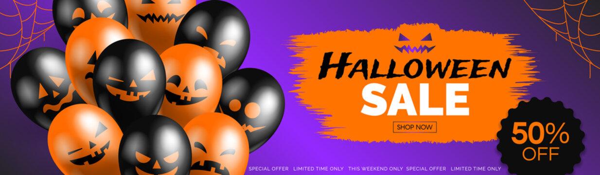halloween sale horizontal web banner with balloons on purple background vector illustration