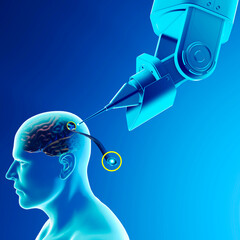 Link, neuralink, new artificial intelligence technology that allows you to connect to the human brain. Neuralink sensors ready to be installed in the skull of a human. 3d render