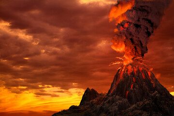 stratovolcano eruption with huge smoke column and fire on sunset, troubles because of disaster and volcanic earthquake concept - 3D illustration of nature