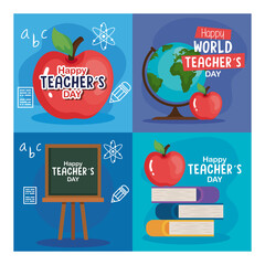 apple books green board and world sphere design, Happy teachers day celebration and education theme Vector illustration