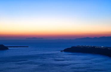Sunset over Oia on Santorini Greece