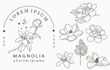 Beauty occult logo collection with geometric,magnolia,moon,star,flower.Vector illustration for icon,logo,sticker,printable and tattoo