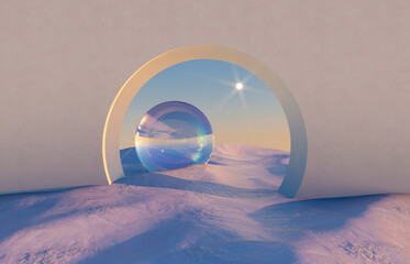 Obraz Abstract winter scene with geometrical forms, arch with a podium in natural light. surreal background. 3D render. - fototapety do salonu