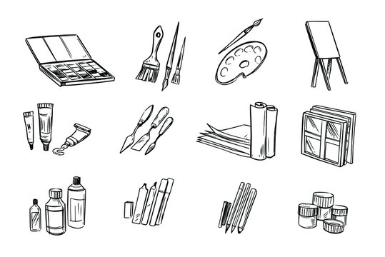 Set of artistic icons. Paints, brushes, papes, canvas, oil. Line illustration. Vector