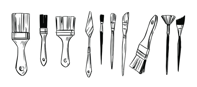 Set of paint brushes. Hannd drawn sketch. Vector illustration