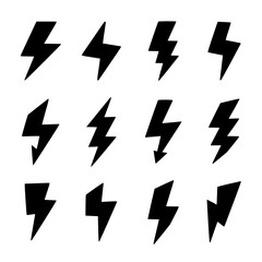 lightning bolt set vector Bolt, Lightning, Lightening, Thunder, Icon, Black, Thunderbolt, Set, Bold, Strike, Power, Electrical