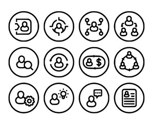 management human resources hr line icons vector Management, Icon, Icons, Human, Recruiting, Stakeholder, Resume, Set, Line, Resources, Hrm, Manpower