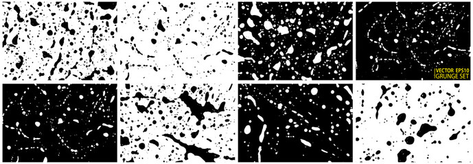 Grunge stains backgrounds set. Ink splatter. Paint splashes backdrops collection. Liquid stains. Soap foam. Paint brush strokes and drops. Abstract vector illustration.
