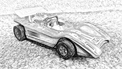 Digital black and white style representing a racing car