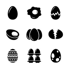 set egg related icons vector Egg, Icon, Black, Cracked, Bird, Silhouette, Icons, Set, Animal, Eggs, Cooking, Eggshell