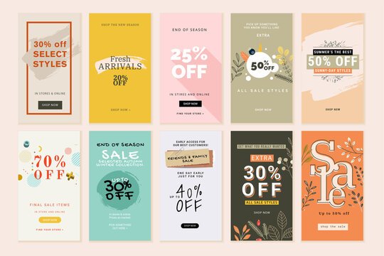 Set of mobile sale banners. Vector illustrations for website and mobile banners, print material, newsletter designs, coupons, marketing.