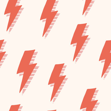 Abstract thunder seamless pattern, vector flash background, hand drawn lightning bolts