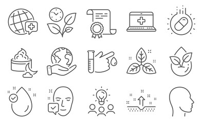 Set of Healthcare icons, such as Face accepted, Organic product. Diploma, ideas, save planet. Medical help, Head, Leaves. Vitamin e, Blood donation, World medicine. Vector