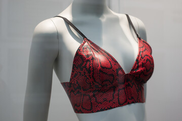 Closeup of red leather bra on mannequin in a fashion store showroom