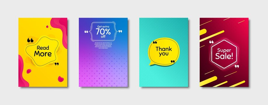 Super sale, 70% discount and read more. Dynamic cover design. Creative fluid background. Thank you phrase. Sale shopping text. Poster cover template with chat bubble. Quote marks speech bubble. Vector