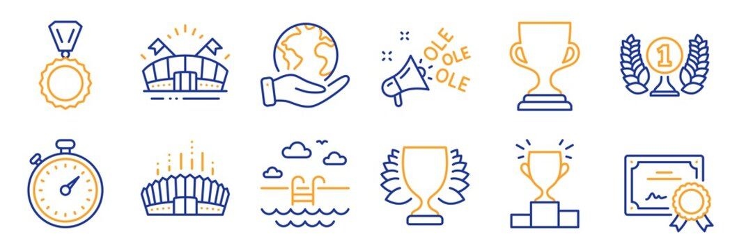 Set of Sports icons, such as Winner podium, Arena stadium. Certificate, save planet. Winner, Ole chant, Timer. Medal, Swimming pool, Sports arena. Award cup, Laureate award line icons. Vector