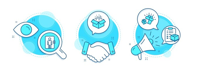 Gift, Open box and Parcel checklist line icons set. Handshake deal, research and promotion complex icons. Elevator sign. Marketing box, Delivery package, Logistics check. Office transportation. Vector