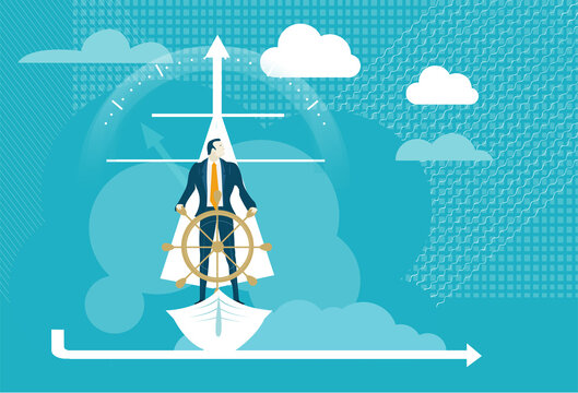 Businessman on sailing boat, looking over the horizon for new business opportunity.  Business concept illustration.