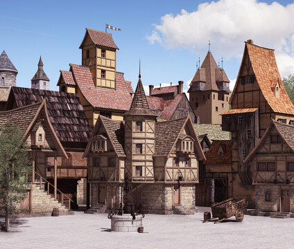 European medieval or fantasy town square on a sunny day