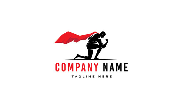 Vector logo on which an abstract image of a superman with a red cloak who kneeled.