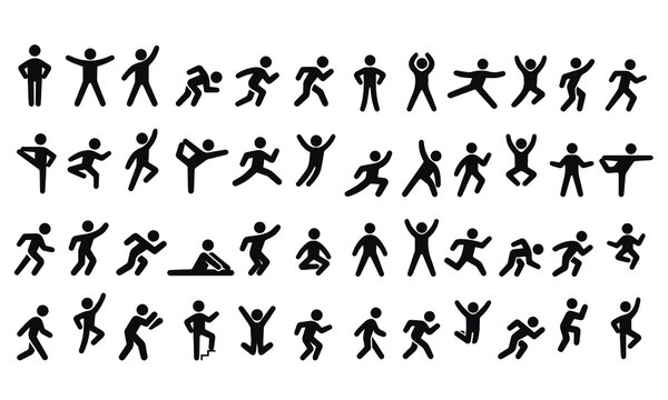 Active lifestyle people and vitality vector icon set,runners active lifestyle icons