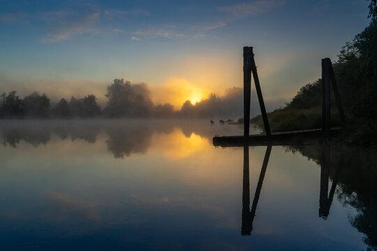 Sunrise on the Snohomish River Summer - Everett Washington USA