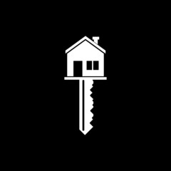 House key icon isolated on dark background