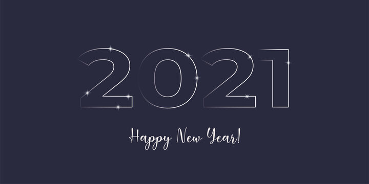 Happy New Year 2021 card eps