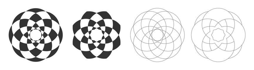 Set of four abstract mandalas, sacred geometry symbols, lotus. Geometric symmetric patterns. Vector mobochrome illustration. Fotobehang