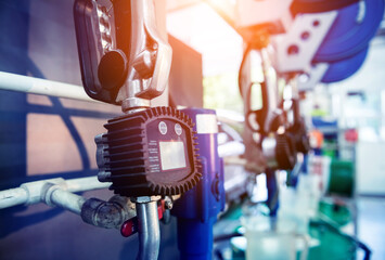Changing the oil in auto repair service